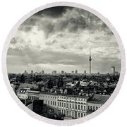 Berlin Skyline And Roofscape -black And White Round Beach Towel