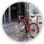 Berlin Street View With Red Bike Round Beach Towel