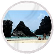 Bermuda Day At The Beach Round Beach Towel