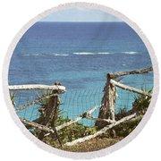 Bermuda Fence And Ocean Overlook Round Beach Towel
