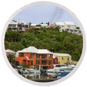 Bermuda Waterside Scene Round Beach Towel