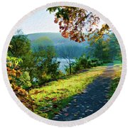 Bernharts Dam Fall 12-25 Round Beach Towel