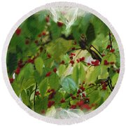 Berries And Leaves 51 Round Beach Towel