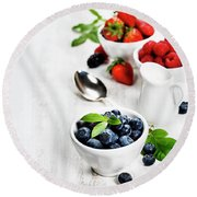 Berries In Bowls  On Wooden Background. Round Beach Towel