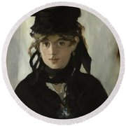 Berthe Morisot With A Bouquet Of Violets Round Beach Towel