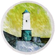 Berwick Lighthouse As Graphic Art. Round Beach Towel