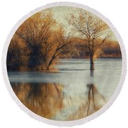 Beside Still Waters-color Round Beach Towel