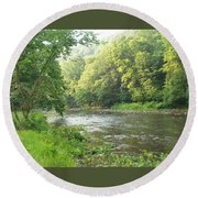 Beside The Still Waters Round Beach Towel