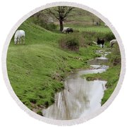 Beside The Still Waters Percherons Round Beach Towel