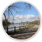 Beside The Thames At Hampton Court London Uk Round Beach Towel