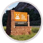 Best Friends Animal Sanctuary Angel Canyon Knob Utah Signage 01 Round Beach Towel