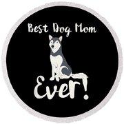 Bestdogmomever Husky Round Beach Towel