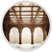 Bethesda Terrace In Color Round Beach Towel