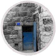Bethlehem - Blue Old Door Round Beach Towel