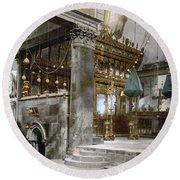 Bethlehem - Inside Nativity Church 1890 Round Beach Towel