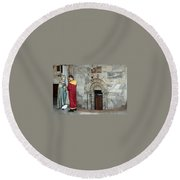 Bethlehem - Nativity Church - Preparation For Armenian Mass Round Beach Towel