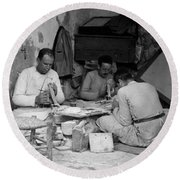 Bethlehem Mother Of Pearl Workers 1934 Round Beach Towel
