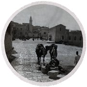 Bethlehem Street Scene 1911 Round Beach Towel
