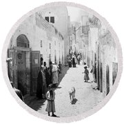 Bethlehem The Main Street 1800s Round Beach Towel