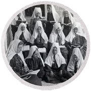 Bethlehem Women School 1900s Round Beach Towel