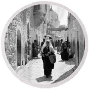 Bethlehemite Going To The Market Round Beach Towel