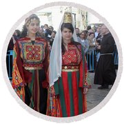 Bethlehemites In Traditional Dress Round Beach Towel
