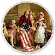 Betsy Ross And General George Washington Round Beach Towel by War Is Hell Store