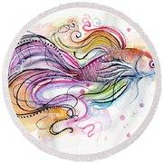 Betta Fish Watercolor Round Beach Towel by Olga Shvartsur