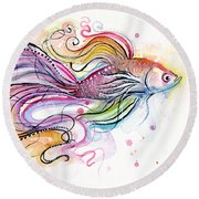 Betta Fish Watercolor Round Beach Towel