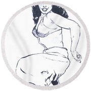 Bettie Page Harem Girl Round Beach Towel