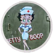 Betty Boop As A Nurse Round Beach Towel