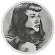 Betty Page Round Beach Towel