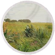 Between Geest And Marsh Round Beach Towel by Valentin Ruths