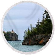 Between Rocks Panorama Round Beach Towel