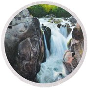 Betws-y-coed Waterfall In North Wales Round Beach Towel