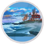 Betzie Lighthouse Round Beach Towel