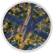 Beverly Hills Streets, Aerial View Round Beach Towel