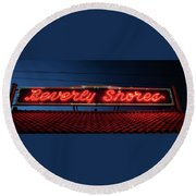 Beverly Shores Indiana Depot Neon Sign Panorama Round Beach Towel