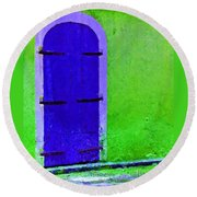 Beyond The Blue Door Round Beach Towel