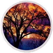 Beyond The Cottonwoods Round Beach Towel