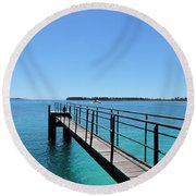Beyond The Pier Round Beach Towel