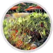 Beyond The Red Flowers Round Beach Towel