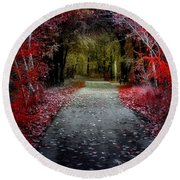 Beyond The Red Leaves Round Beach Towel