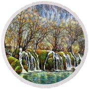 Beyond The Snowy Mountains Round Beach Towel