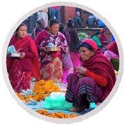 Bhaktapur Holi Market Round Beach Towel