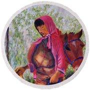 Bhutan Series - Woman With The Horse Round Beach Towel