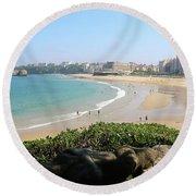 Biarritz Beach Panorama Round Beach Towel