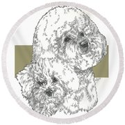 Bichon Frise And Pup Round Beach Towel