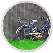 Bicycle And Gray Fence Round Beach Towel