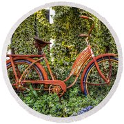 Bicycle In The Garden Round Beach Towel